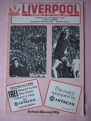 Programme for Liverpool v CSKA Sofia (European Cup 3rd Round March 1981)