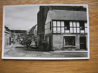 Blairgowrie, High St At Corner With Reform St. R/p,p/m 1967, Shops, Folk, Cars