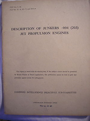 British Intelligence Report German Air Force Junkers Jet Engine Aircraft