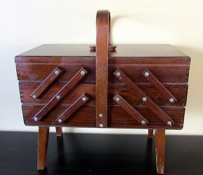 Vintage Accordion Fold Out Solid Wood Sewing Box Basket Cabinet NMint Condition