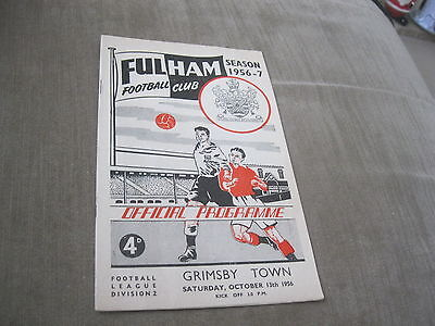 FULHAM v GRIMSBY TOWN 13/10/56, DIVISION 2