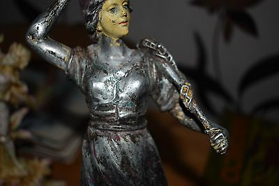 FRENCH SPELTER FISHERWOMAN  ART DECO DISTRESSED FOR PROJECT  c1930