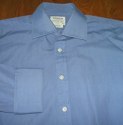 "T M Lewin 100 16.5""  Mens Blue  Cufflink Shirt 2 Fold Cotton"