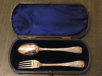 Antique Victorian Sterling Silver Boxed Christening Set London 1875 Chawner & Co