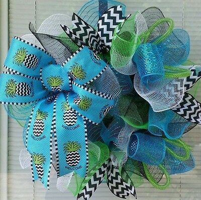 sale SUMMER PINEAPPLE WELCOME BOW DECO MESH WREATH