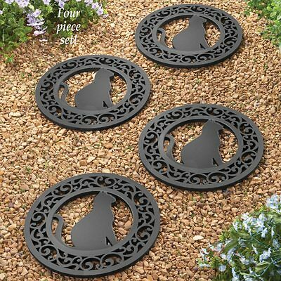 Set of 4 Sturdy Heavy Duty Rubber Kitty Cat Silhouette Garden Stepping Stones