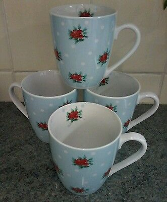 Waterside Vintage Look Shabby Chic Country Tall Mugs X 4 Perfect