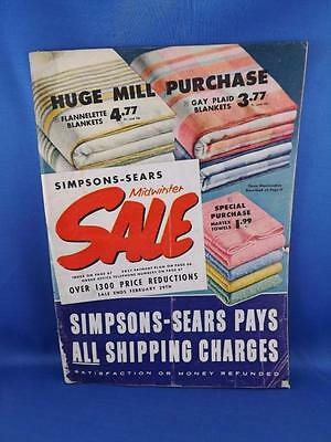 SIMPSONS SEARS CANADA VINTAGE CATALOGUE MIDWINTER SALE 1950's CLOTHING HOUSEWARE