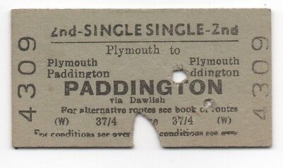 BR (W) Single Ticket Plymouth to Paddington used and dated 20 April 1960