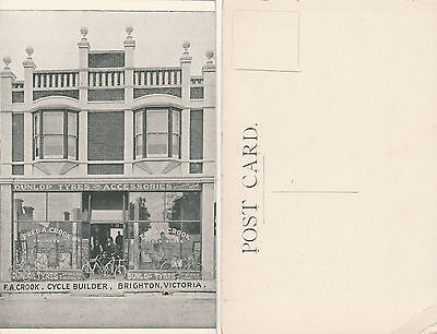 Postcard F A Crook bicycle builder shopfront Brighton Victoria Australia lovely