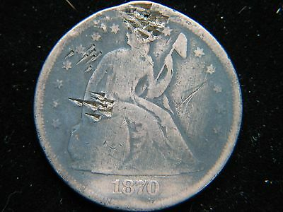 1870 $1 Liberty Seated Silver Dollar  Tough Early Type Coin Damaged - see photos