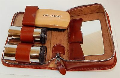 "Gents Vintage Leather Travel Kit By ""two-Tix"" Includes Vidal Sassoon Hair Brush!"