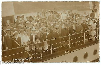 ILFRACOMBE - passengers on Paddle Steamer Cambria -off to Tenby - Batten RP 1913