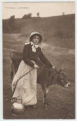 """Lovely Cow, Beautiful Girl, Jersey Jug: """"Photogravure Series"""" PPC by Foot, VG+"""