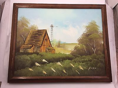 IMPRESSIONIST BARN Shed WINDMILL COUNTRYSIDE FRAMED OIL PAINTING Original FORD