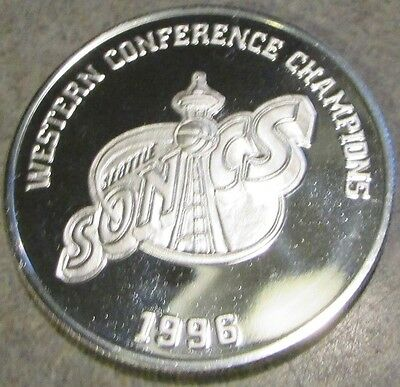 1996 Seattle Sonics Western Conference Champions 1 oz. .999 Silver Round Coin