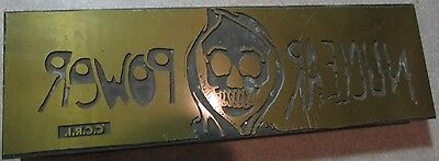 Very Old Nuclear Power Community College of Rhode Island Wood Printing Block RI