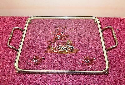 Super vintage Art Deco glass and silver plate tray, Hunting scene on the glass