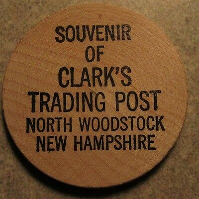 Vintage Clarks Trading Post North Woodstock, NH Wooden Nickel - New Hampshire