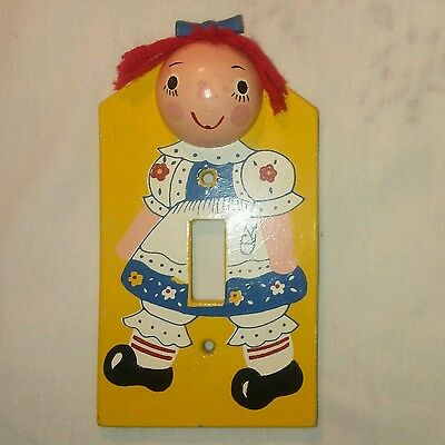 RARE Vintage Wooden IRMI Raggedy Ann Light Switch Cover