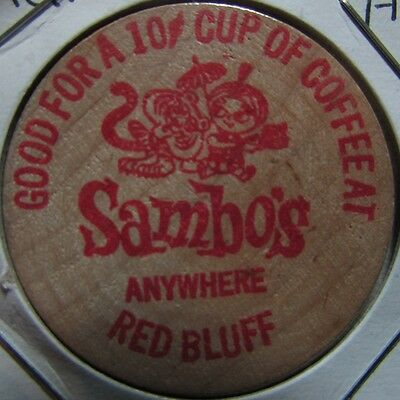 Vintage Sambos Restaurant Red Bluff, AR Wooden Nickel Token - Arkansas Ark.