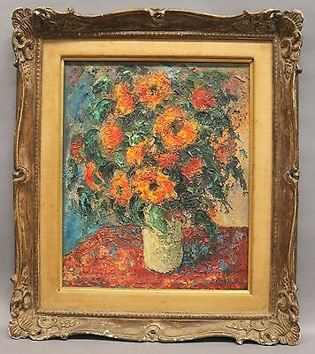Vintage Floral Still Life Oil-on-Canvas Painting - signed Robin