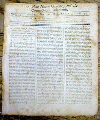 Orig 1786 CT newspaper 1st CHARLES RIVER BRIDGE CONSTRUCTED Boston MASSACHUSETTS