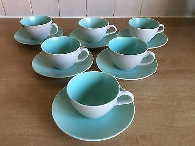 Poole Twintone Pottery - Ice Green & Seagull C57 - 6 X Tea Cups & Saucers