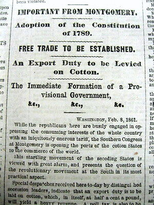 1861 Civil War newspaper CONFEDERATE STATES OF AMERICA founded in MONTGOMERY AL