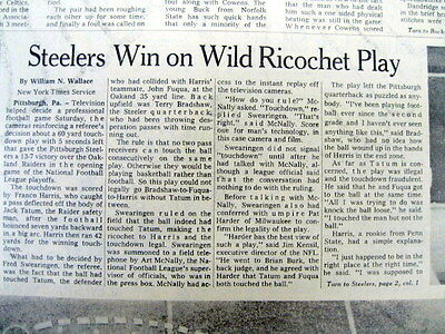 1972 newspaper PITTSBURGH STEELERS WIN TITLE  FRANCO HARRIS Immaculate Reception
