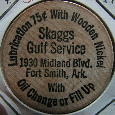 Vintage Skagg's Gulf Service Fort Smith, AR Wooden Nickel Token - Arkansas Ark.