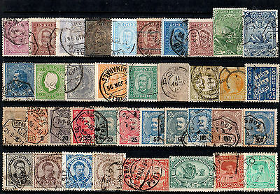 Portugal Collection Of 38 Old Stamps Used With Some Good Postmarks