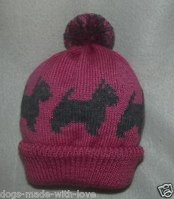 CAIRN TERRIER GREY dog Knitted PINK beanie bobble ADULT size HAT