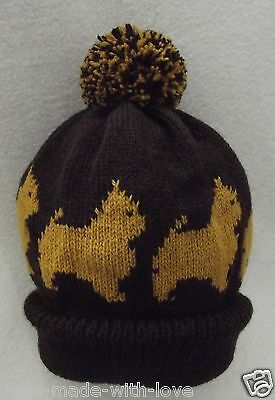 NORWICH TERRIER dog NEW Knitted Adult size Dark brown beanie pompom bobble HAT