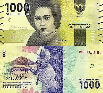 INDONESIA 1000 Rupiah Banknote World Paper Money REPLACEMENT Currency p-New 2016