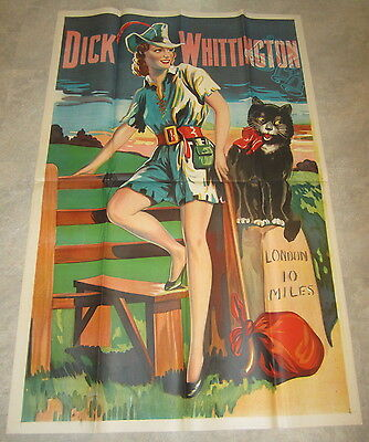 HUGE Original Old Vintage 1930's - DICK WHITTINGTON - THEATRE Show POSTER - CAT
