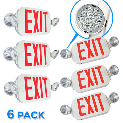 |6-Pack| LED Exit Sign & Emergency Twin Light Lighitng – RED Compact Combo UL924