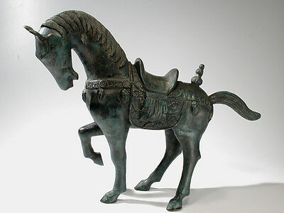 "Chinese Export Bronze Horse Sculpture Vintage - 23"" Tang Style  Statue"