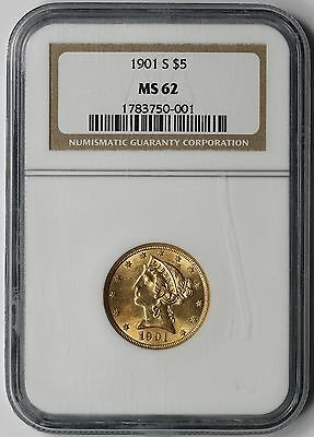 1901-S Liberty Head Half Eagle Gold $5 MS 62 NGC