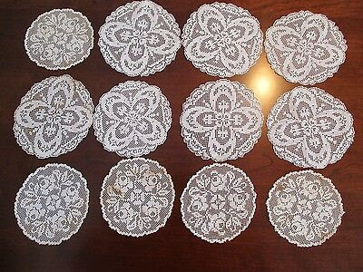 12 Hand Made Lace Doilies Floral Patterns, New, Unused, Vintage