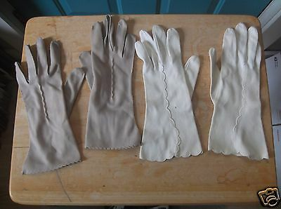 Two Vintage Pair of Ladies Gloves Tan and Off White