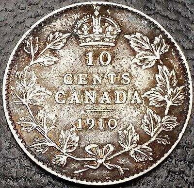 1910 Canada 92.5% Silver Dime - 10 Cents ** VG Condition **  Free Combined S/H