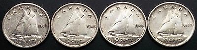 Lot of 4 Canada Silver 10 Cents Dimes - 80% Silver - Good Dates: 1944 to 1947ML