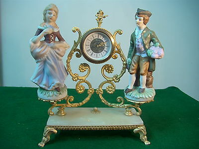 Antique Mechnical Clock Two Figurenes Brass/marple Made In West Germany  Working