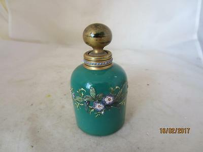 19Th Century Bohemian Moser  Green Glass Floral Embossed Scent Bottle
