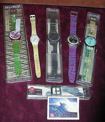 Lot of 5 80's era Swatch Watches Scuba 200 Rare Designs Extra parts too!