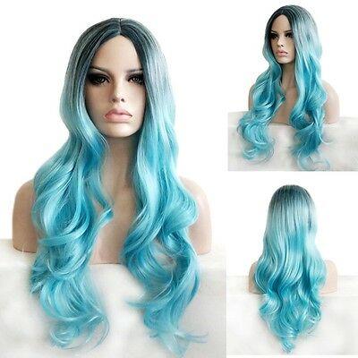 Part Bangs Long Curly Wavy Hair Black Blue Ombre Cosplay Party Weave Wig