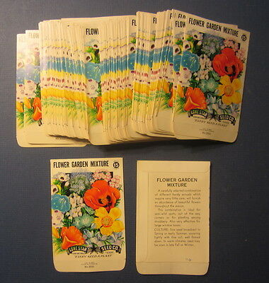 Wholesale Lot of 100 Old Vintage FLOWER GARDEN MIXTURE Vegetable SEED PACKETS