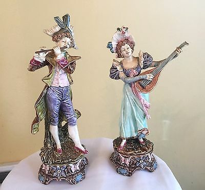 Pair Antique German Porcelain Figures Victorian Dresden Royal Dux Man flute Lady