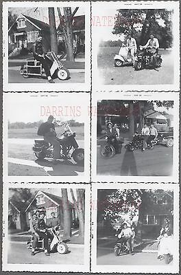 Lot of 6 Vintage Photos Men on Cushman & Vespa Motor Scooters 744587
